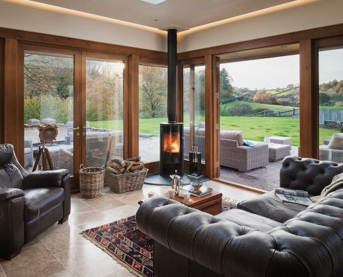Cozy Living room extension with a log burner