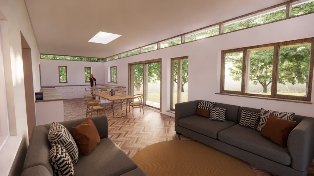 View of what the client sees when viewing their home in virtual reality